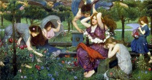 johnwilliamwaterhousephistars-painting flora_and_the_zephyrs